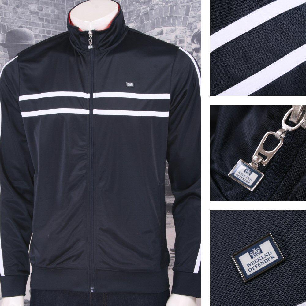 Weekend Offender Retro Casual Terrace 90's Horizontal Stripe Zip Track Top Black
