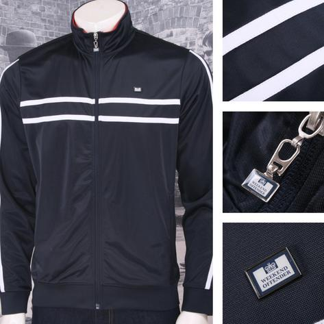 Weekend Offender Retro Casual Terrace 90's Horizontal Stripe Zip Track Top Black Thumbnail 1