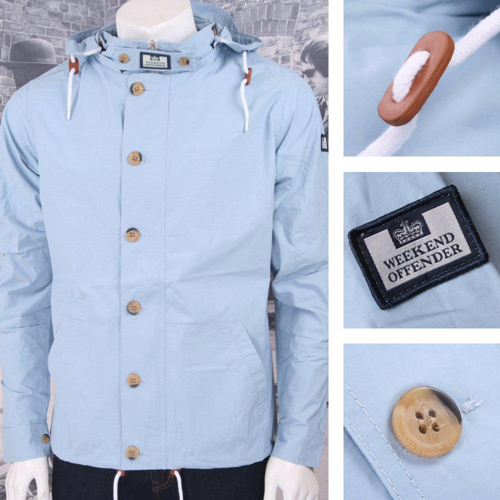 Weekend Offender Retro Casual Terrace Button Through Windbreaker Cagoule Sky
