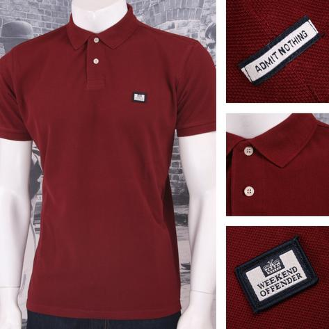 Weekend Offender Retro Mod 60's Classic Style Two Button Placket Polo Shirt