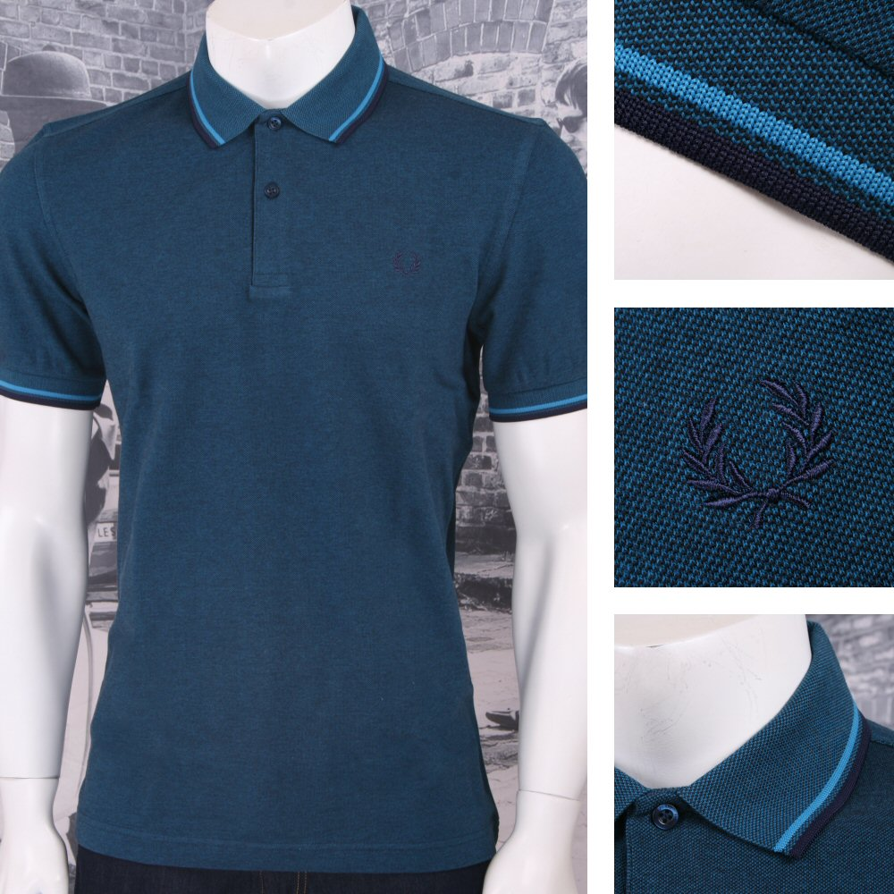 60d85e6286d3 Fred Perry Mod 60's Laurel Wreath Oxford Weave Pique Tipped Polo Shirt Teal  | Adaptor Clothing