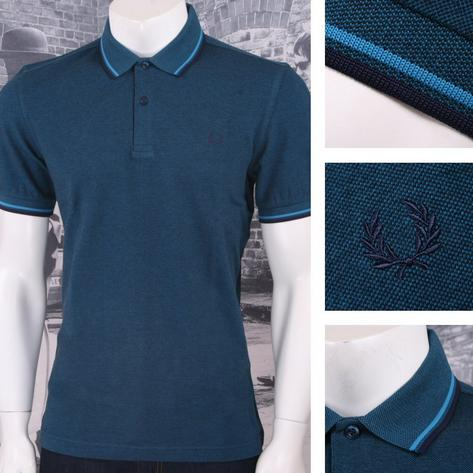 Fred Perry Mod 60's Laurel Wreath Oxford Weave Pique Tipped Polo Shirt Teal Thumbnail 1