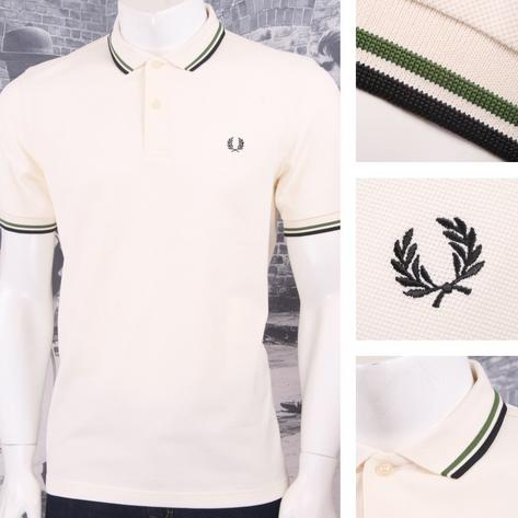 Fred Perry Mod 60's Laurel Wreath Pique Knit Tipped Polo Shirt Ecru Thumbnail 1