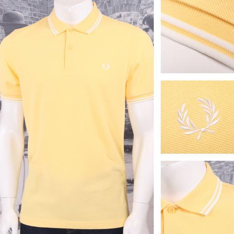 Fred Perry Mod 60's Laurel Wreath Pique Knit Tipped Polo Shirt Lemon