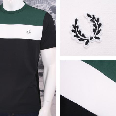 Fred Perry Mod 60's Laurel Wreath Stripe Panel Ringer T-Shirt Black Thumbnail 1