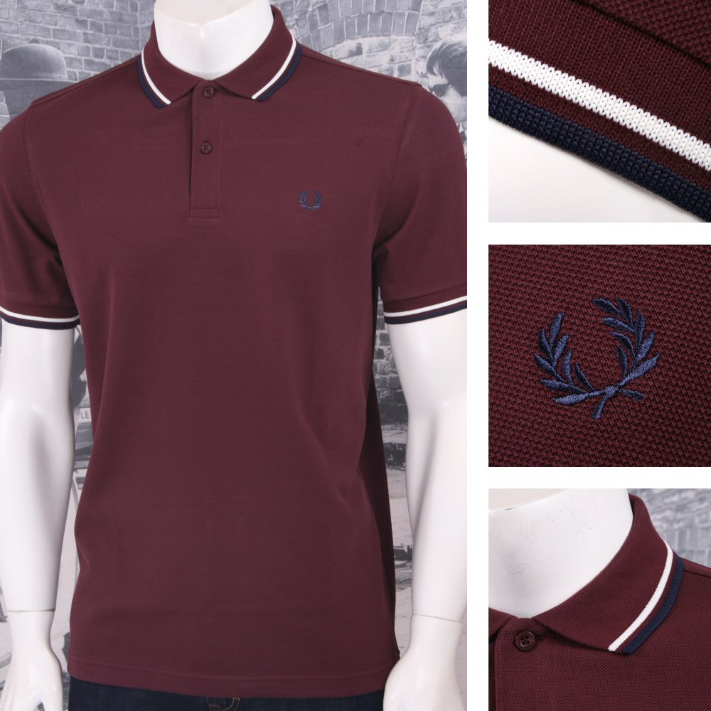 6312b7521 Fred Perry Mod 60 s Laurel Wreath Pique Knit Tipped Polo Shirt Burgundy