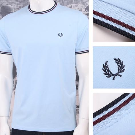 Fred Perry Mod 60's Authentic Twin Tipped Crew Neck Ringer T-Shirt Sky Thumbnail 1