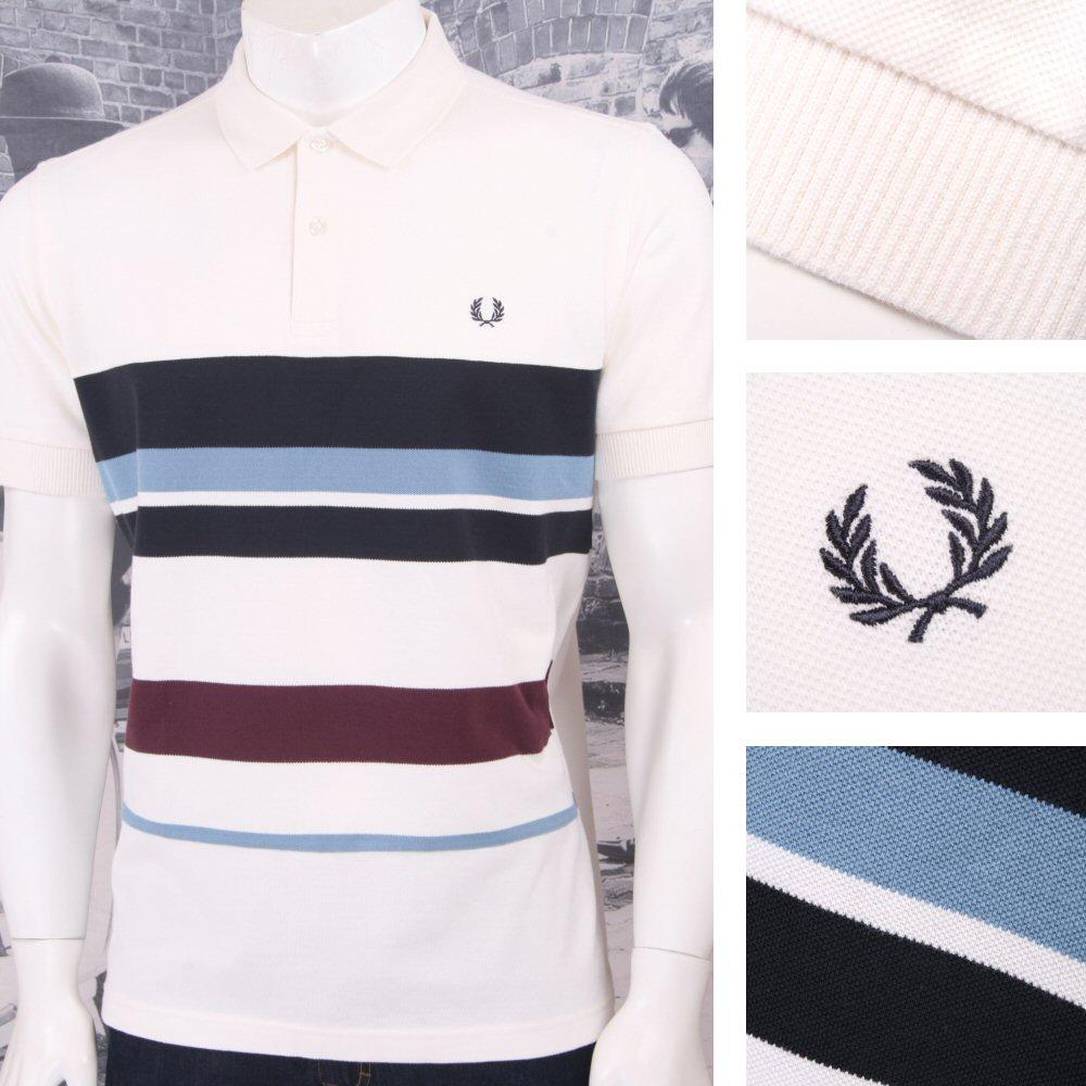 Fred Perry Mod 60's Retro Mixed Multi Stripe Pique Polo Shirt Ecru