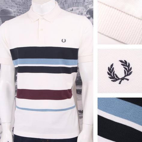 Fred Perry Mod 60's Retro Mixed Multi Stripe Pique Polo Shirt Ecru Thumbnail 1
