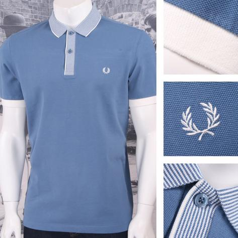 Fred Perry Mod 60's Multi Stripe Collar & Placket Pique Polo Shirt Blue Thumbnail 1