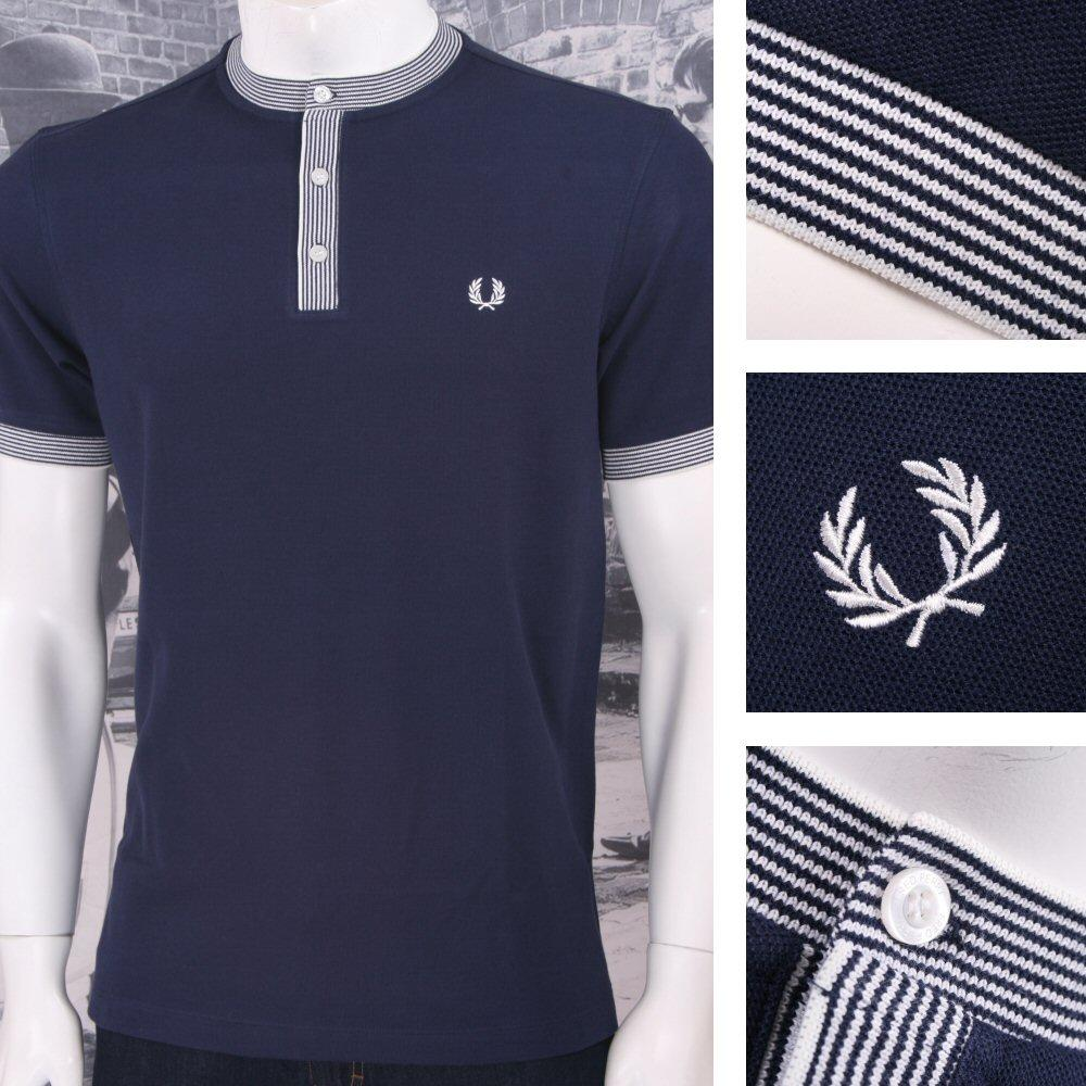Fred Perry Mod 60's Retro Multi Stripe Pique Henley Grandad Top Navy