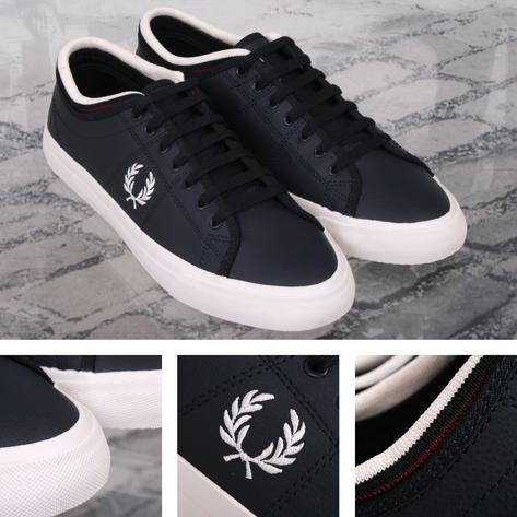 Fred Perry Retro Kendrick Casual Leather Sports Trainer Shoe Navy Thumbnail 1