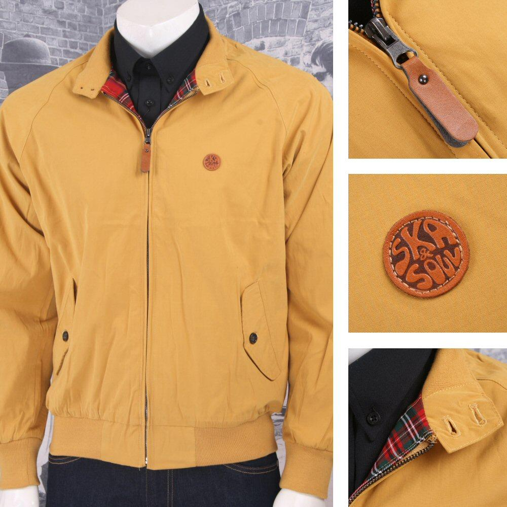 Ska & Soul Mod Retro 60's Skin Tartan Lined Harrington Jacket Mustard