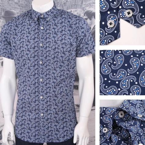 Ska & Soul Mod Retro Paisley Print Short Sleeve Button Down Shirt Thumbnail 2