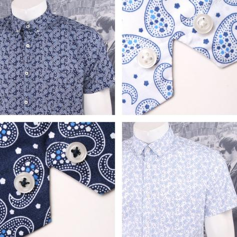 Ska & Soul Mod Retro Paisley Print Short Sleeve Button Down Shirt Thumbnail 1