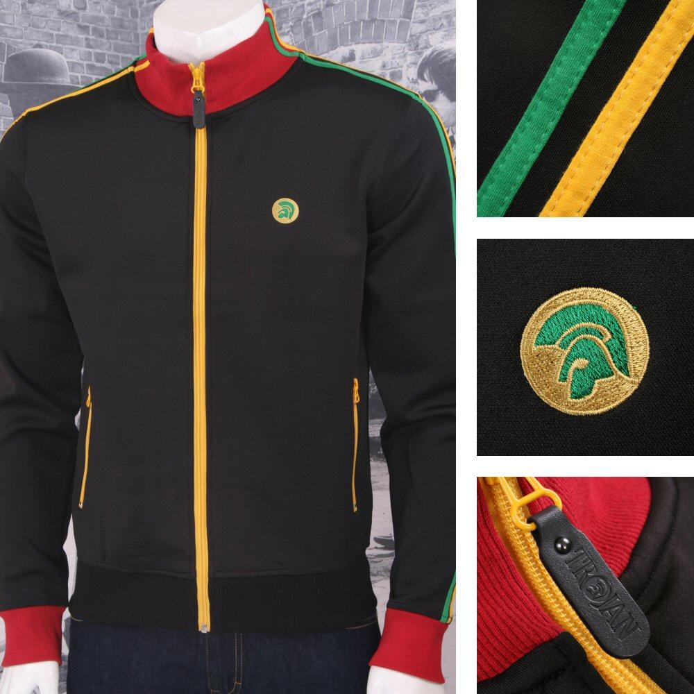 Trojan Records Retro 60's Skin Reggae Ska Rasta Zip Thru Track Top Black