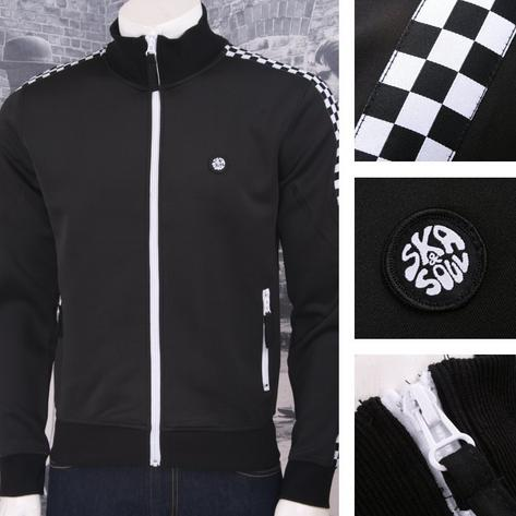Ska & Soul Retro 60's Ska Two Tone Checkerband Zip Thru Track Top Black Thumbnail 1
