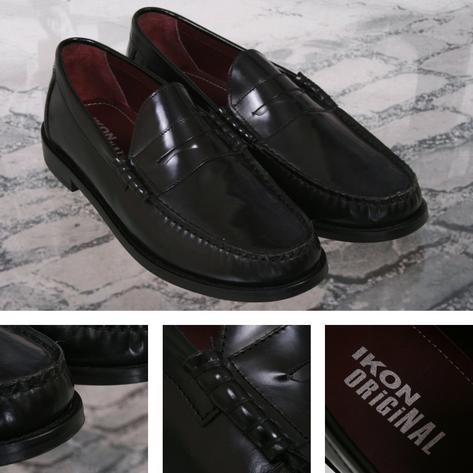 Ikon Originals Albion Mod 60's Plain Top Beefroll Penny Loafer Slip On Black Thumbnail 1