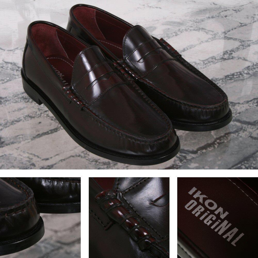 Ikon Originals Albion Mod 60's Plain Top Beefroll Penny Loafer Slip On Oxblood