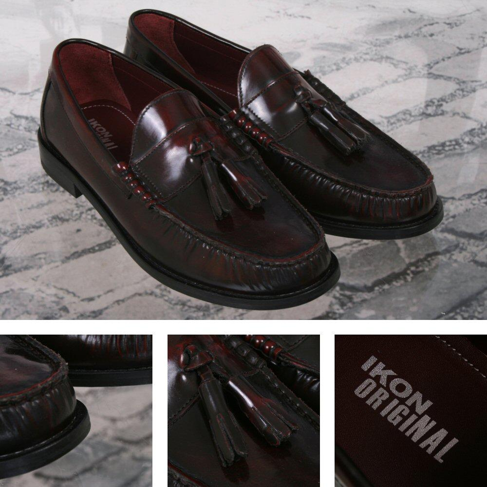 Ikon Originals Albion Mod 60's Tasseled Beefroll Penny Loafer Slip On Oxblood