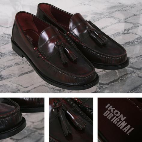 Ikon Originals Albion Mod 60's Tasseled Beefroll Penny Loafer Slip On Oxblood Thumbnail 1