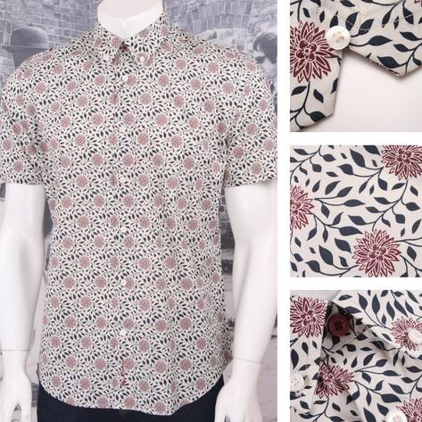 Ben Sherman Retro 60's Button Down Short Sleeve Floral Print Shirt Thumbnail 3