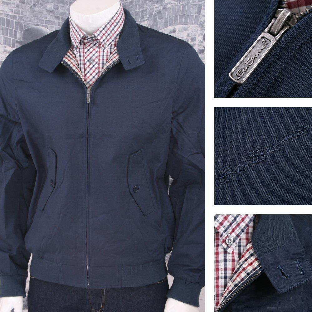 Ben Sherman Mod Retro Classic House Check Lined Harrington Jacket Navy