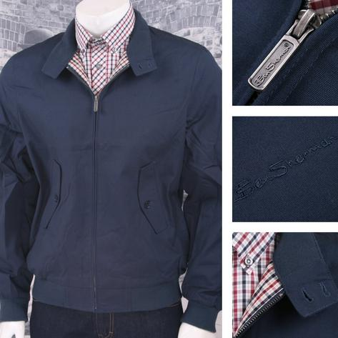 Ben Sherman Mod Retro Classic House Check Lined Harrington Jacket Navy Thumbnail 1