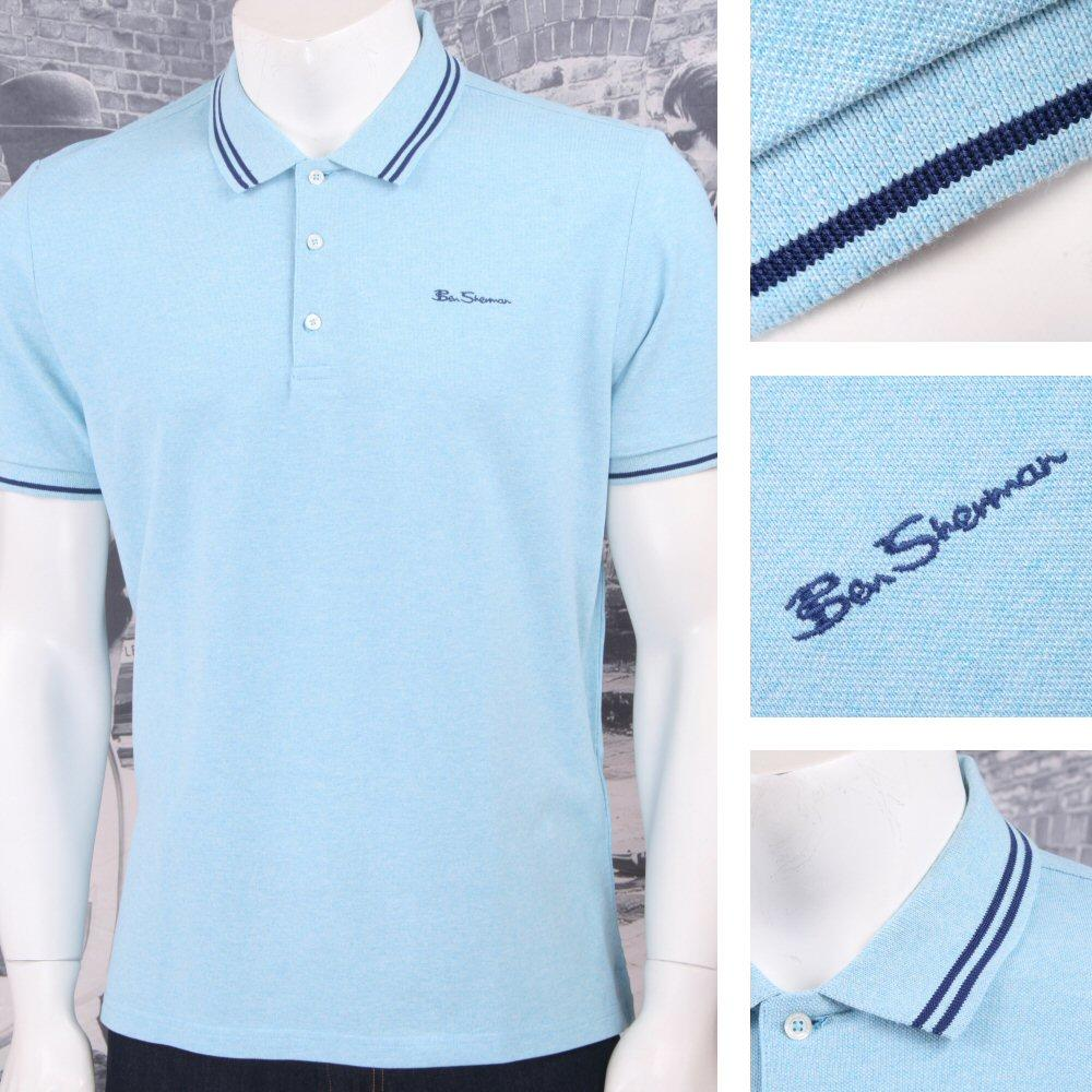 Ben Sherman Mod Retro 60's 3 Button Placket Twin Tipped Polo Shirt Mint