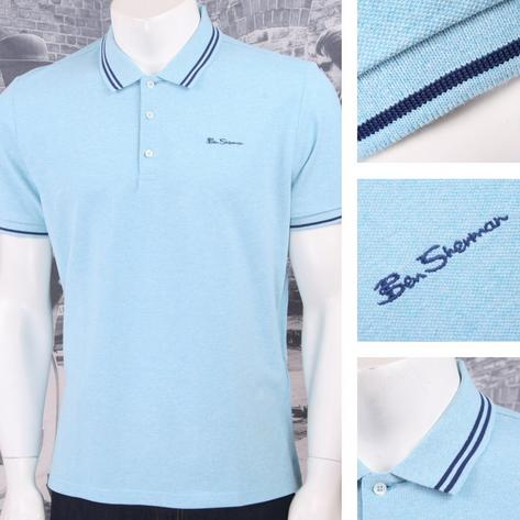 Ben Sherman Mod Retro 60's 3 Button Placket Twin Tipped Polo Shirt Mint Thumbnail 1
