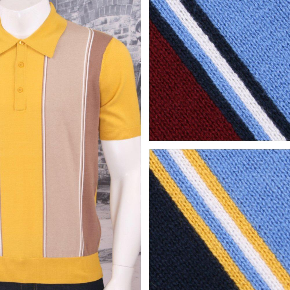 Art Gallery 60's Retro Mod Vertical Multi Stripe 3 Button Knit Polo Shirt