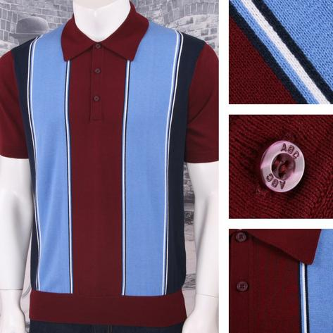 Art Gallery 60's Retro Mod Vertical Multi Stripe 3 Button Knit Polo Shirt Thumbnail 3