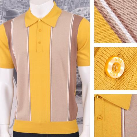 Art Gallery 60's Retro Mod Vertical Multi Stripe 3 Button Knit Polo Shirt Thumbnail 2
