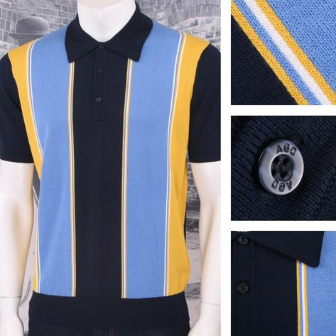 Art Gallery 60's Retro Mod Vertical Multi Stripe 3 Button Knit Polo Shirt Thumbnail 4