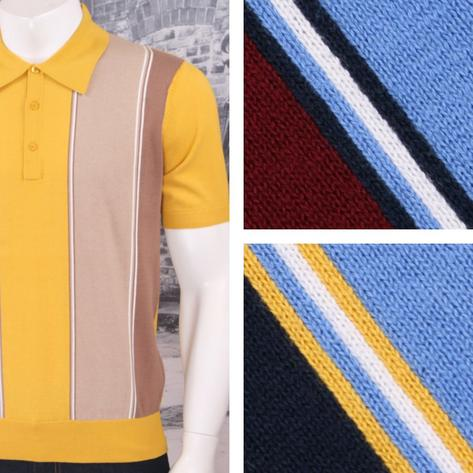 Art Gallery 60's Retro Mod Vertical Multi Stripe 3 Button Knit Polo Shirt Thumbnail 1