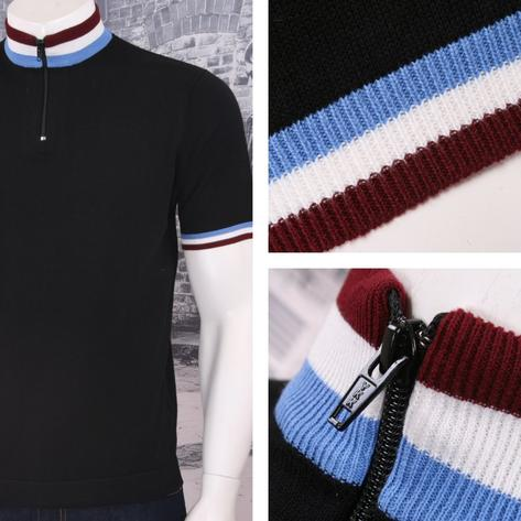 Art Gallery 60's Retro Mod Zip Collar Tri Triple Tipped Knit S/S Cycling Top Thumbnail 2