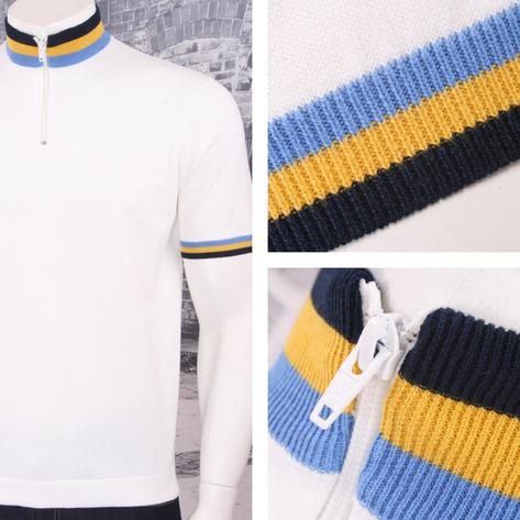 Art Gallery 60's Retro Mod Zip Collar Tri Triple Tipped Knit S/S Cycling Top Thumbnail 3