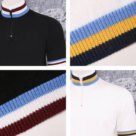 Art Gallery 60's Retro Mod Zip Collar Tri Triple Tipped Knit S/S Cycling Top Thumbnail 1