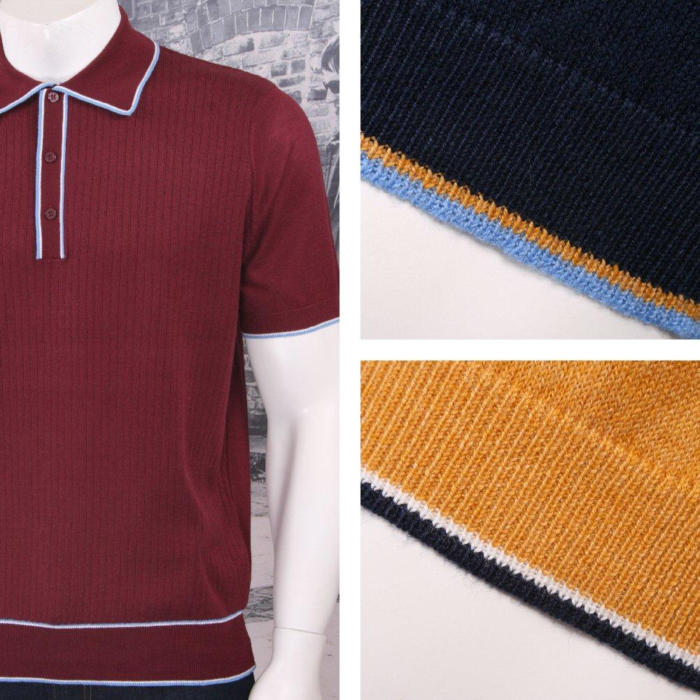 Art Gallery 60's Retro Mod Fine Gauge Ribbed Knit S/S Tipped Polo Shirt