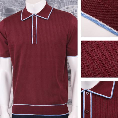 Art Gallery 60's Retro Mod Fine Gauge Ribbed Knit S/S Tipped Polo Shirt Thumbnail 2