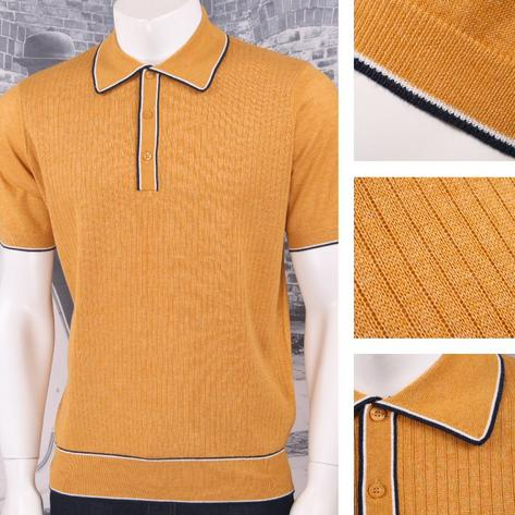 Art Gallery 60's Retro Mod Fine Gauge Ribbed Knit S/S Tipped Polo Shirt Thumbnail 4
