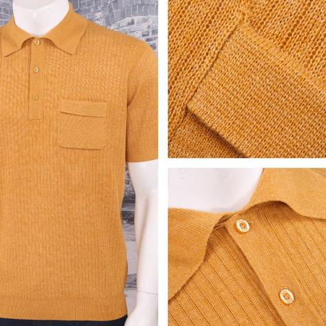 Art Gallery 60's Retro Mod Fine Gauge Ribbed Knit Short Sleeve Polo Shirt Thumbnail 3