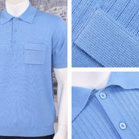Art Gallery 60's Retro Mod Fine Gauge Ribbed Knit Short Sleeve Polo Shirt Thumbnail 2