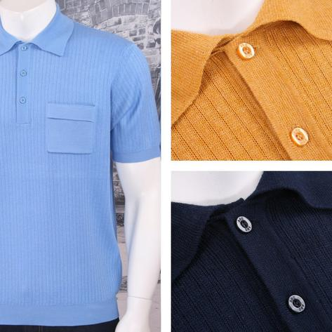 Art Gallery 60's Retro Mod Fine Gauge Ribbed Knit Short Sleeve Polo Shirt Thumbnail 1