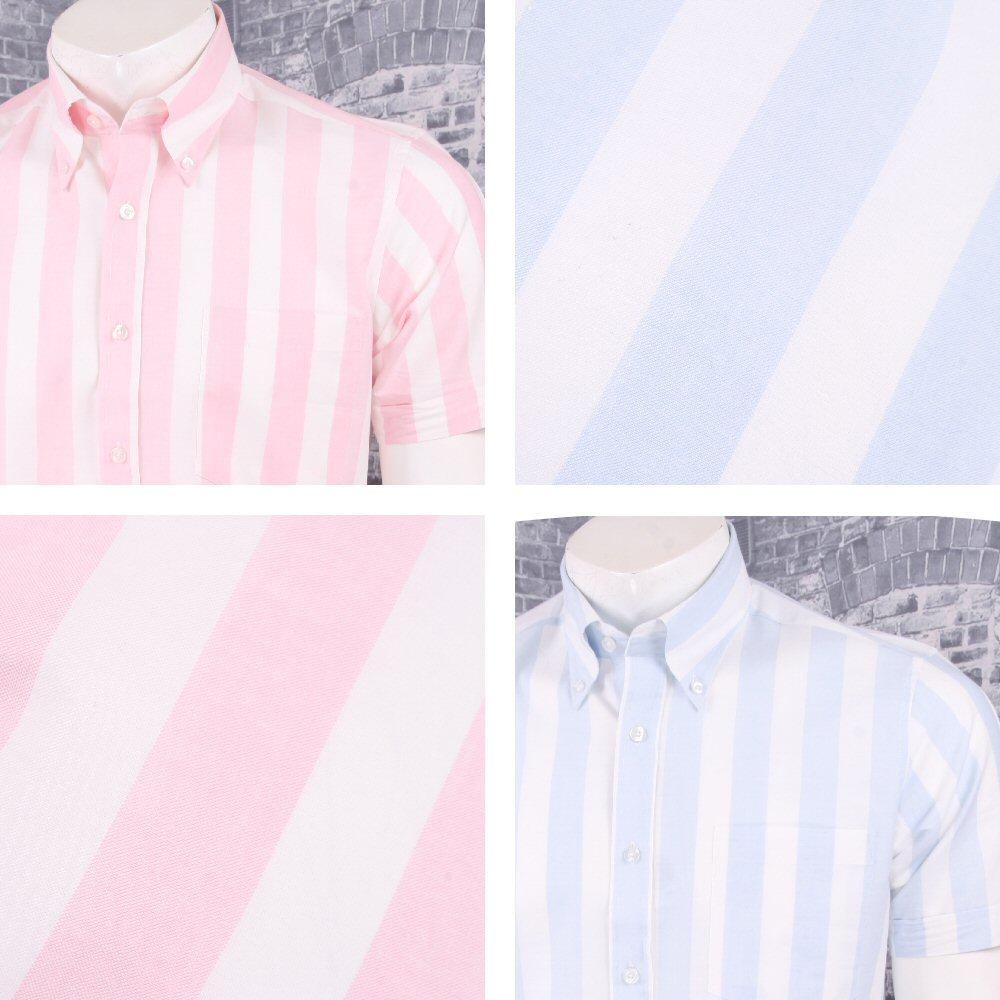 Art Gallery 60's Retro Mod Button Down Collar Bold Candy Stripe S/S Shirt