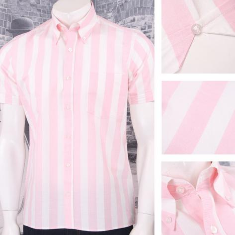 Art Gallery 60's Retro Mod Button Down Collar Bold Candy Stripe S/S Shirt Thumbnail 2