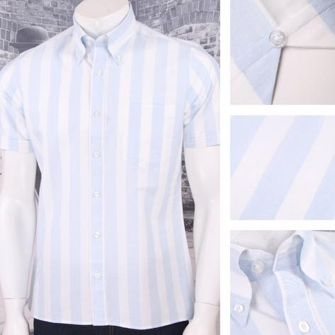 Art Gallery 60's Retro Mod Button Down Collar Bold Candy Stripe S/S Shirt Thumbnail 3