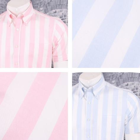 Art Gallery 60's Retro Mod Button Down Collar Bold Candy Stripe S/S Shirt Thumbnail 1