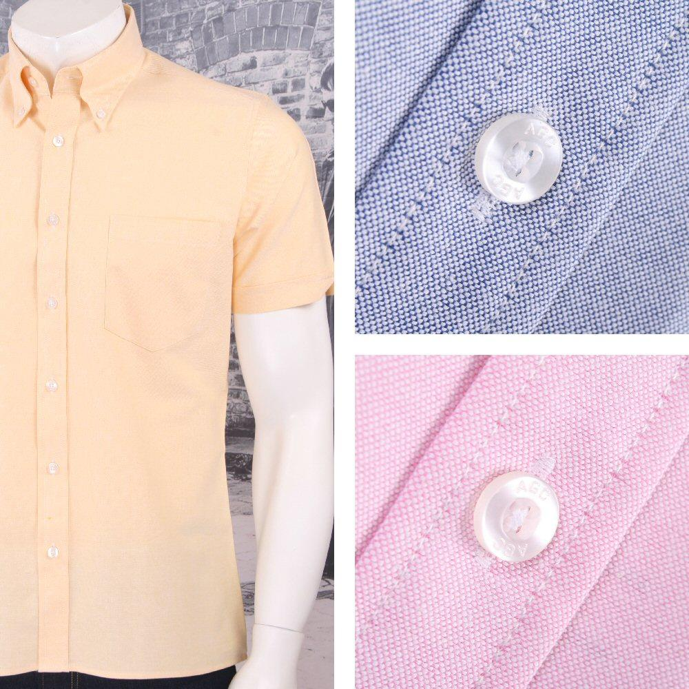 Art Gallery 60's Retro Mod Button Down Collar Plain Oxford Cotton S/S Shirt
