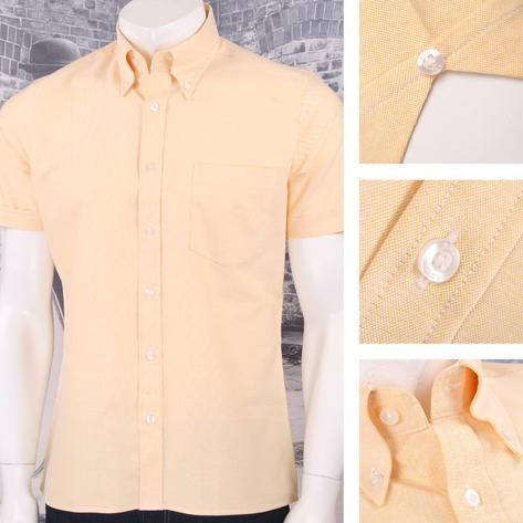 Art Gallery 60's Retro Mod Button Down Collar Plain Oxford Cotton S/S Shirt Thumbnail 2